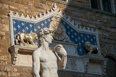 大卫雕象的特写镜头在Palazzo Vecchio前面的在佛罗伦萨 图库摄影