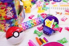大厅乐趣箱子照片  在Mondelez和Pokemon亚洲之间的合作 免版税库存照片