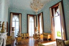 大厅内部在沃龙佐夫宫殿在阿卢普卡,克里米亚 免版税图库摄影