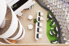 大厅和螺旋式楼梯在现代里面 免版税图库摄影