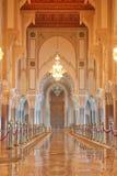 大厅哈桑我内部清真寺祈祷 免版税图库摄影