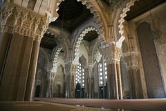 大厅哈桑ii国王清真寺祷告 图库摄影