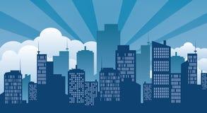 大厦、象和城市 库存图片