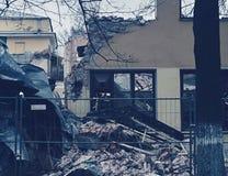 大厦、破坏和废墟的爆破 免版税库存图片