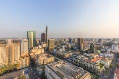 从大厦上面的胡志明市视图  免版税图库摄影