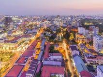 从大厦上面的胡志明市视图  免版税库存照片