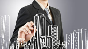 大厦企业都市风景凹道人 免版税库存图片