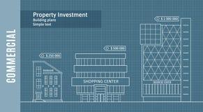 大厦剪影在画纸,商业不动产Infographics的 免版税库存照片