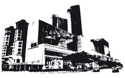 大厦剪影 免版税库存照片