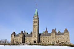 大厦加拿大渥太华议会查看冬天 库存照片