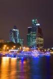 大厦区莫斯科城市的看法每9月夜 莫斯科 免版税库存照片