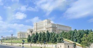 大厦告诉了Casa Poporului (人民的议院),方形的Piata Constitutiei 布加勒斯特罗马尼亚 图库摄影