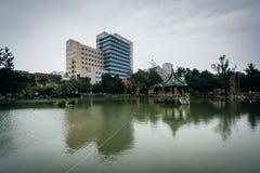 大厦和一个池塘国立台湾大学的,在台北, T 库存照片