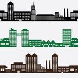 大厦和房子风景样式 免版税库存图片
