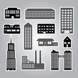 大厦和房子贴纸eps10 免版税库存照片
