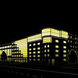 大厦和街道剪影在晚上 免版税库存照片