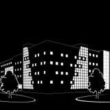 大厦和街道剪影在晚上 免版税库存图片