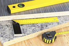 大厦和项目工具概念 木匠业工具 免版税图库摄影