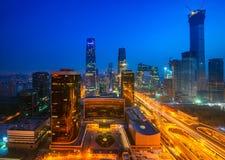 大厦在夜间的,北京北京市 免版税库存图片