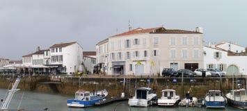 大厦在港口在圣马丁de Re, Il de Re 库存照片