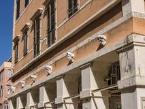 大厦在老镇在科孚岛希腊海岛上的科孚岛镇  免版税库存图片