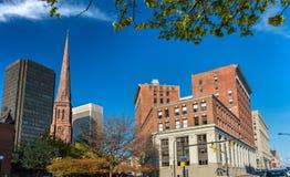 大厦在街市水牛城- NY,美国 免版税图库摄影