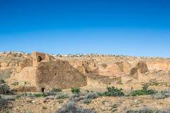 大厦在Chaco文化全国历史公园, NM,美国 免版税库存图片