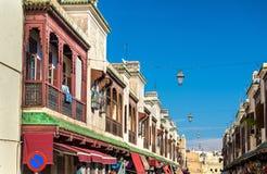 大厦在Fes Jdid, Fes的三个部分之一,摩洛哥 免版税库存图片