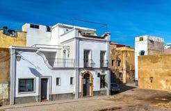 大厦在Mazagan,杰迪代,摩洛哥葡萄牙镇  免版税图库摄影