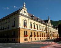 大厦城市圆柱状大厅匈牙利 在镇布拉索夫(Kronstadt)环境美化,在Transilvania 免版税库存图片