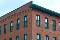 大厦壁角砖和窗口透视办公室墙壁 库存照片