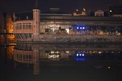 大厦夜视图在水反射了在跟特, 2017年11月5日的比利时 库存照片