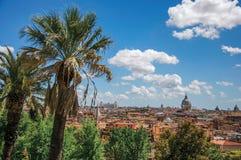 大厦大教堂圆顶、纪念碑和屋顶概要在罗马 免版税库存照片