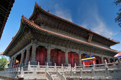大厦孔子主要qufu寺庙 免版税图库摄影