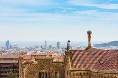 大厦屋顶在巴塞罗那,西班牙 免版税图库摄影