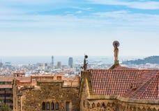 大厦屋顶在巴塞罗那,西班牙 图库摄影