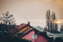 大厦屋顶,赤裸树,日落,在湖的雾 免版税库存照片