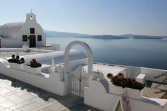 大厦希腊小山海岛santorini 图库摄影