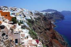 大厦希腊小山海岛santorini 免版税库存照片
