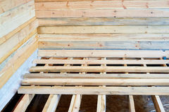大厦房子和台面厚木板 库存图片