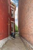 大厦有历史的缩小的走道 免版税库存照片