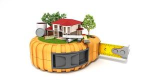 大厦有图画和工具的设计房子的概念在t 库存图片
