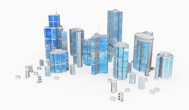 大厦玻璃组钢 皇族释放例证