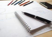 大厦的企业概念在一个建筑办公室策划 库存图片