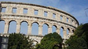 大厦的古老圆形剧场部分在普拉城市在克罗地亚 免版税库存图片