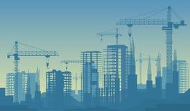 大厦的横幅例证建设中在过程中 库存照片