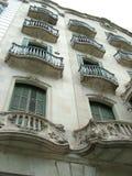 大厦的阳台在巴塞罗那 免版税库存照片