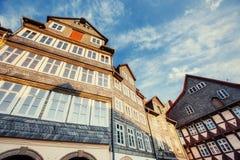 1850 1890年大厦被修建的门面视窗 迷人的镇在德国 李 免版税库存图片