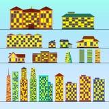 大厦装城市创建图标于罐中映射使用的集合独立 向量例证