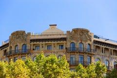 大厦装饰在Passeig de Gracia 33在巴塞罗那 免版税库存照片